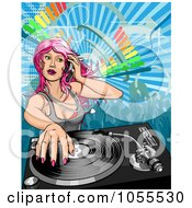 Royalty Free Vector Clip Art Illustration Of A Pink Haired Female Dj Mixing A Record