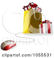 Royalty Free Vector Clip Art Illustration Of A Computer Mouse Connected To A Gift Bag
