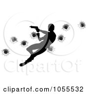 Royalty Free Vector Clip Art Illustration Of A Silhouetted Action Hero Shooting Over Bullet Holes 2 by AtStockIllustration