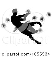 Royalty Free Vector Clip Art Illustration Of A Silhouetted Action Hero Shooting Over Bullet Holes 1 by AtStockIllustration