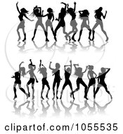 Royalty Free Vector Clip Art Illustration Of A Digital Collage Of Borders Of Black Silhouetted Women Dancing by AtStockIllustration