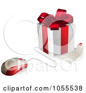 Royalty Free Vector Clip Art Illustration Of A 3d Computer Mouse Connected To A Gift Box And Tags by AtStockIllustration