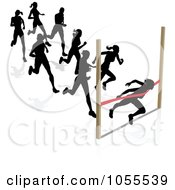 Royalty Free Vector Clip Art Illustration Of Silhouetted Runners A Woman Breaking Through The Finish Line
