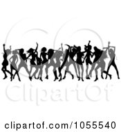 Royalty Free Vector Clip Art Illustration Of A Border Of Black Silhouetted Women Dancing
