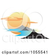 Royalty-Free Vector Clip Art Illustration of a Huge Sun Setting With Clouds And Mountainous Islands by erikalchan