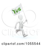 Royalty Free Clip Art Illustration Of A 3d White Person Running With A Yes Flag