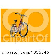 Royalty Free CGI Clip Art Illustration Of A 3d Mountain Bike On Orange