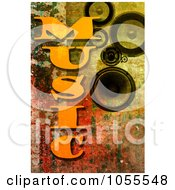 Royalty Free CGI Clip Art Illustration Of A Background Of MUSIC Text And Speakers On Rust by chrisroll