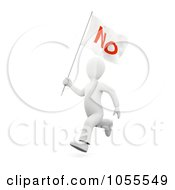 Royalty Free Clip Art Illustration Of A 3d White Person Running With A No Flag