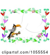 Royalty Free Vector Clip Art Illustration Of A Butterfly Heart And Toucan Frame by bpearth