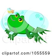 Bee And Frog Over A Blue Oval