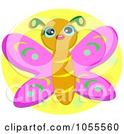 Royalty Free Vector Clip Art Illustration Of A Cute Butterfly Over A Yellow Oval by bpearth