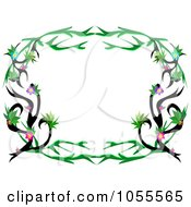 Royalty Free Vector Clip Art Illustration Of A Rounded Floral Tattoo Vine Frame by bpearth