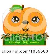 Pumpkin Over A Happy Halloween Greeting