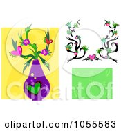 Digital Collage Of A Floral Frame Background And Vase