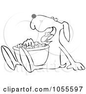Royalty Free Vector Clip Art Illustration Of A Coloring Page Outline Of A Dog Eating Popcorn