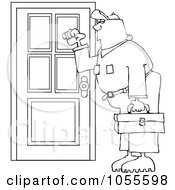 Royalty Free Vector Clip Art Illustration Of A Coloring Page Outline Of A Worker Man Knocking On A Door