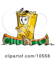 Clipart Picture Of A Yellow Admission Ticket Mascot Cartoon Character Rowing A Boat by Toons4Biz