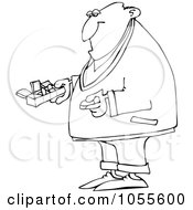 Royalty Free Vector Clip Art Illustration Of A Coloring Page Outline Of A Man Holding A Pill Organizer by djart
