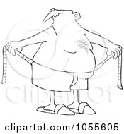 Royalty Free Vector Clip Art Illustration Of A Coloring Page Outline Of A Chubby Man Measuring Around His Waist