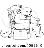 Royalty Free Vector Clip Art Illustration Of A Coloring Page Outline Of An Alligator Sitting In An Adironack Chair With A Beverage
