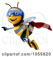 Royalty Free CGI Clip Art Illustration Of A 3d Super Honey Bee Flying And Pointing
