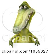 Royalty Free CGI Clip Art Illustration Of A 3d Dinosaur With A Blank Sign 6