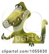 Royalty Free CGI Clip Art Illustration Of A 3d Dinosaur With A Blank Sign 7