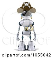 Royalty Free CGI Clip Art Illustration Of A 3d Robot Pirate Facing Front