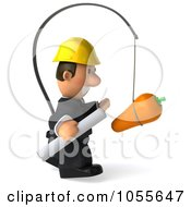 Royalty Free CGI Clip Art Illustration Of A 3d Male Architect Chasing After A Carrot 2