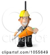 Royalty Free CGI Clip Art Illustration Of A 3d Male Architect Chasing After A Carrot 1