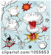 Royalty Free Vetor Clip Art Illustration Of A Digital Collage Of Comic Explosions And Bombs On Blue by Pushkin