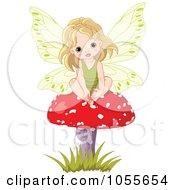 Royalty Free Vetor Clip Art Illustration Of A Cute Fairy Girl Sitting On A Red Mushroom
