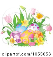 Royalty Free Vetor Clip Art Illustration Of Daffodils And Tulips Around Easter Eggs by Pushkin