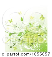 Royalty Free Vetor Clip Art Illustration Of A Grungy Green Background Of Vines And Butterflies Over Gradient White