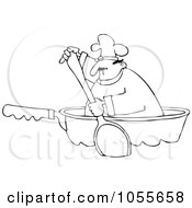 Coloring Page Outline Of A Chef Paddling In A Pan