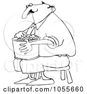 Royalty Free Vector Clip Art Illustration Of A Coloring Page Outline Of A Man Sitting On A Stool And Eating Popcorn
