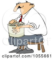 Man Sitting On A Stool And Eating Popcorn