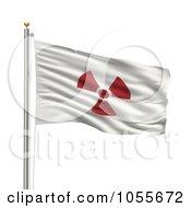 Royalty Free CGI Clip Art Illustration Of A 3d Rippling Radioactive Japan Flag by stockillustrations