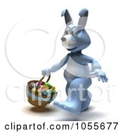 Royalty Free CGI Clip Art Illustration Of A 3d Blue Easter Bunny Walking With A Basket Of Eggs