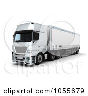 Royalty Free CGI Clip Art Illustration Of A 3d Front Side View Of A Curtainside Euro Truck