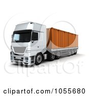 Royalty Free CGI Clip Art Illustration Of A 3d Frontal View Of A Big Rig With A Container