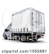 Royalty Free CGI Clip Art Illustration Of A 3d Rear Side View Of A Van