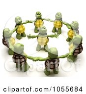 Royalty Free CGI Clip Art Illustration Of A 3d Tortoise In The Center Of A Circle Of Others