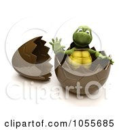 Royalty Free CGI Clip Art Illustration Of A 3d Tortoise Waving In A Chocolate Easter Egg by KJ Pargeter