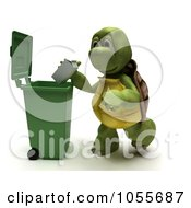 Royalty Free CGI Clip Art Illustration Of A 3d Tortoise Dropping A Carton In A Recycle Bin by KJ Pargeter