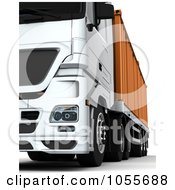Royalty Free CGI Clip Art Illustration Of A 3d Low Frontal View Of A Big Rig With A Container