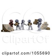Royalty Free CGI Clip Art Illustration Of 3d Robots Passing Boxes From One Palette To Another