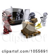 Royalty Free CGI Clip Art Illustration Of A 3d Supervisor Robot Watching Others Load Boxes Into A Delivery Van