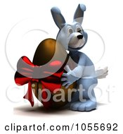 Royalty Free CGI Clip Art Illustration Of A 3d Blue Easter Bunny Hugging A Giant Chocolate Egg